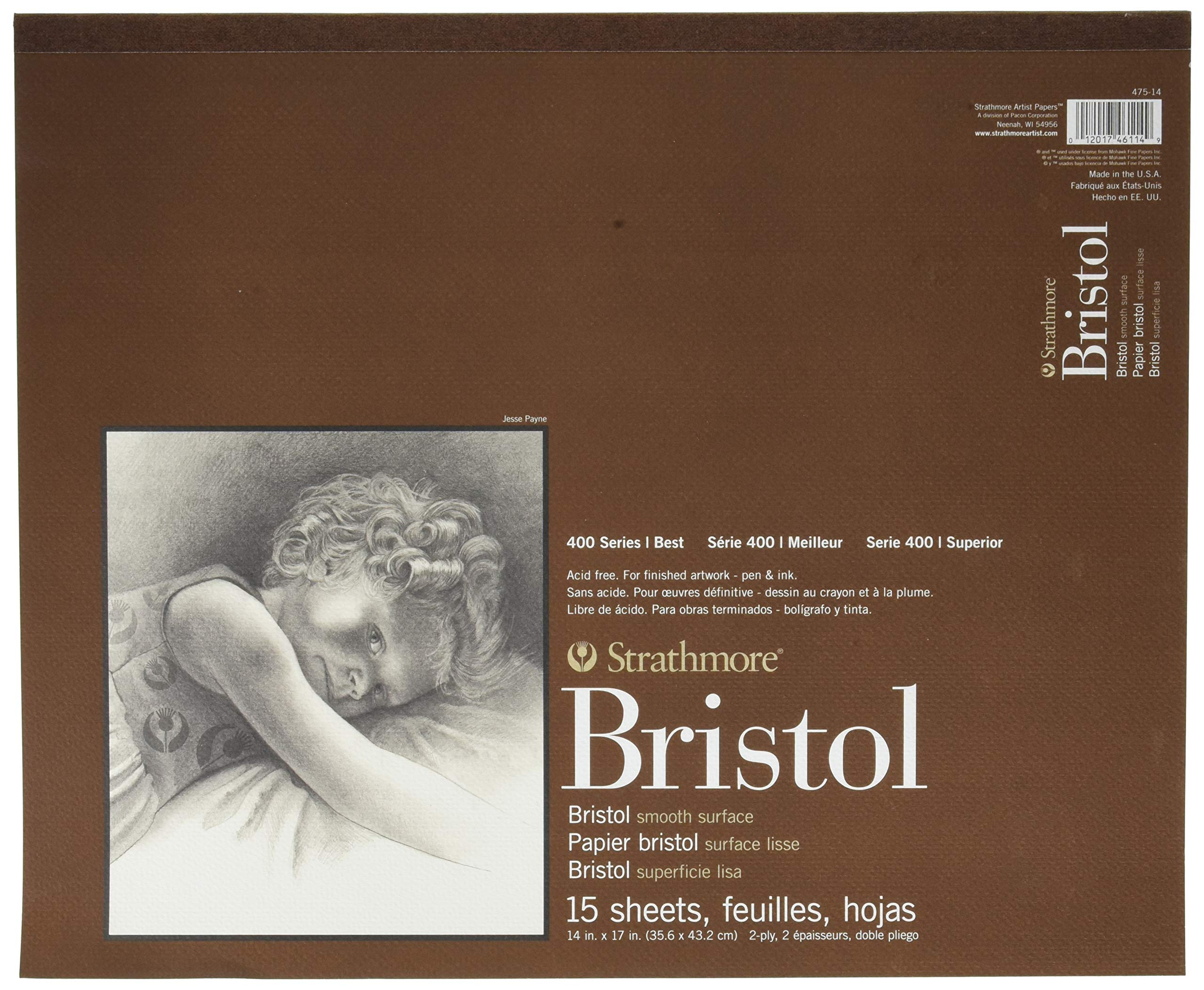 Strathmore 400 Series Bristol, 2-Ply Smooth, 14''x17'' Tape Bound, 15 Sheets by Strathmore