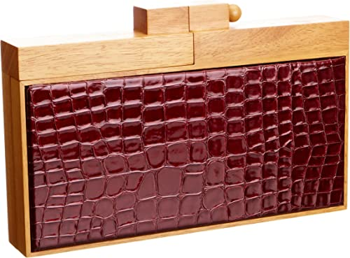 French Connection Women's Patent Croc Clutch Berry Tart