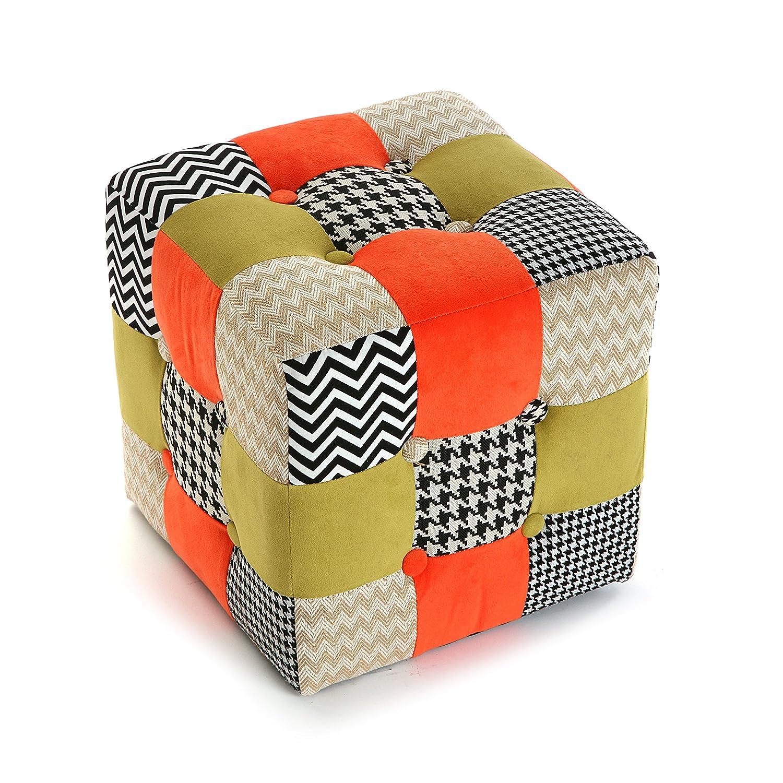 Multicolore Mimma Versa Arancione//Beige//Nero Pouf Cubo 35 x 35 x 35 cm