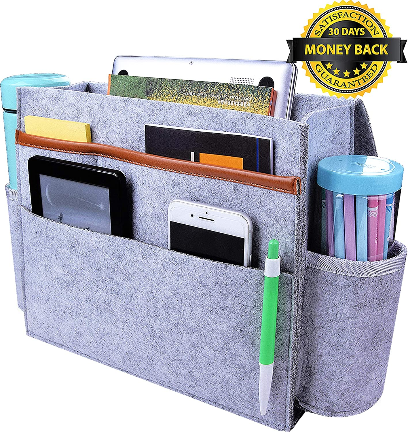 YOMFUN Bedside Caddy Organizer, Bedside Storage Organizer Upgraded 6 Pockets Large Sofa Bed Caddy with Cup Holder, Felt Hanging Organizer for Phone/Magazine/13 Laptop (Light Gray)