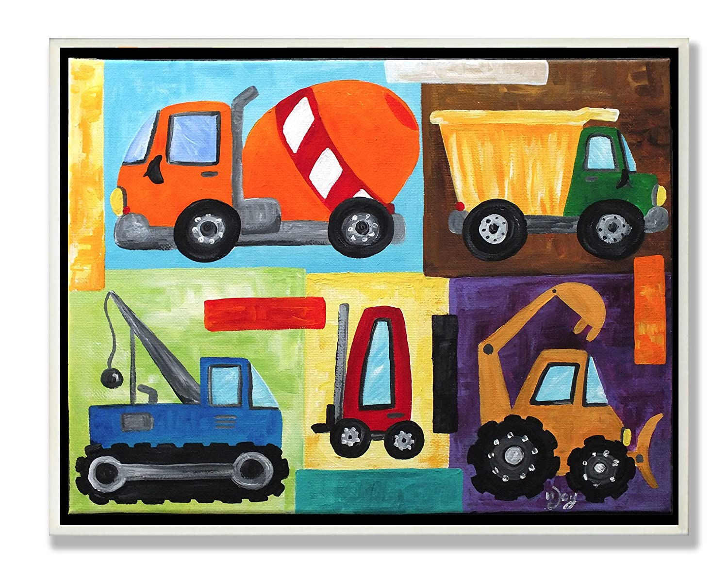 The Kids Room by Stupell Construction Trucks Rectangle Wall Plaque Set, 11 x 0.5 x 15, Proudly Made in USA brp-1641