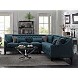 Iconic Home FSA2676-AN Aberdeen Chic Home Linen Tufted Down Mix Modern Contemporary Right Facing Sectional Sofa, Teal