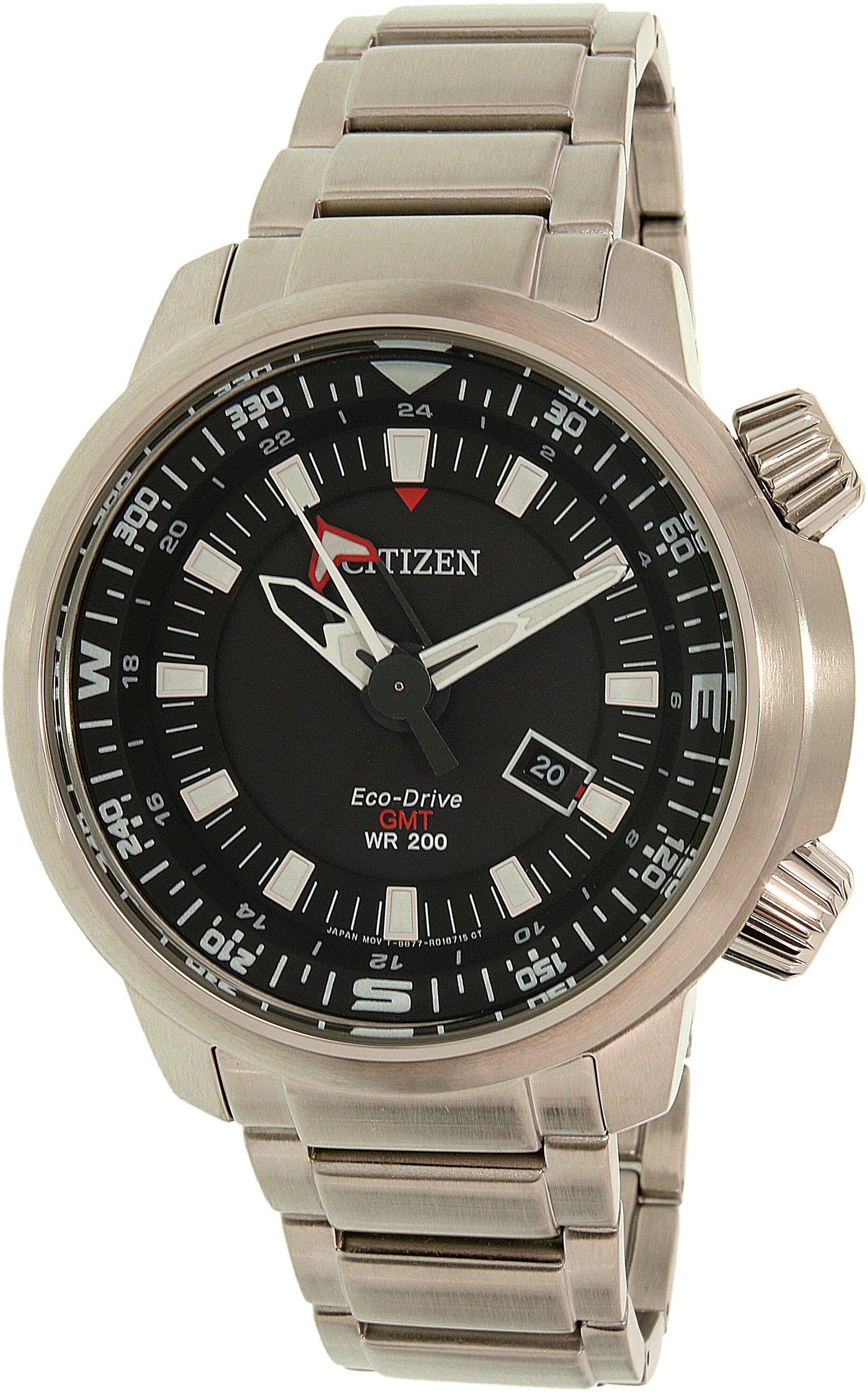 Men's Citizen Eco-Drive GMT Diver's Steel Watch BJ7080-53E