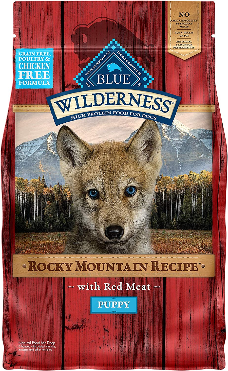 Blue Buffalo Wilderness Rocky Mountain Recipe High Protein, Natural Puppy Dry Dog Food, Red Meat