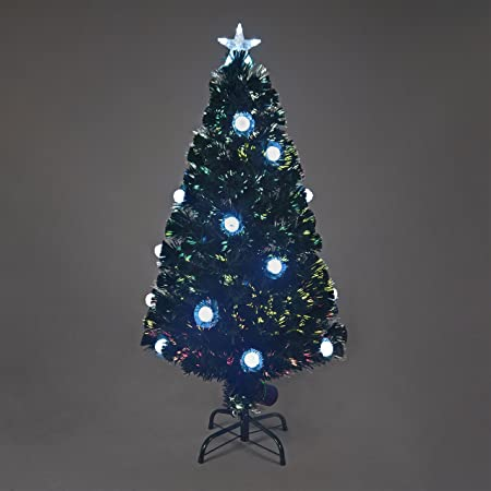 66d48ee31ab03 Snowtime 6ft Silver Pom Pom Fibre-Optic Christmas Tree  Amazon.co.uk   Kitchen   Home