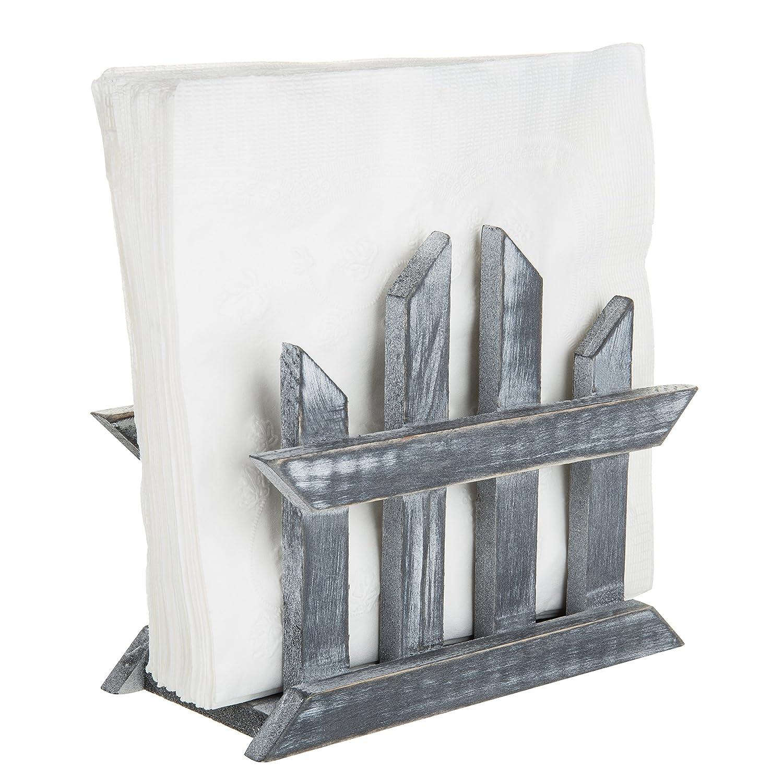 Rustic Dark Gray Wood Fence Design Napkin Holder, Tabletop Paper Towel Dispenser