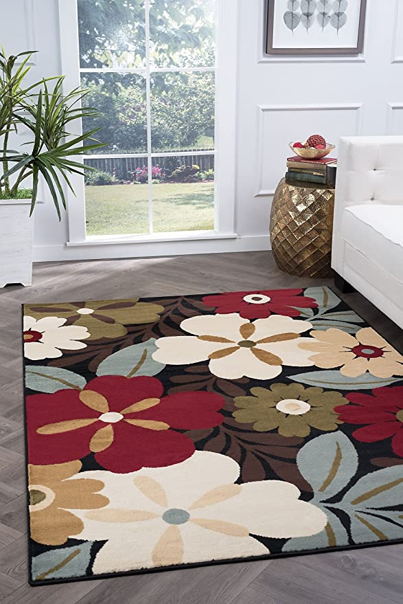 5-Feet 3-Inch Universal Rugs 4520 Laguna Round Contemporary Area Rug Multicolor