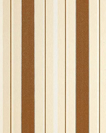 Wallcovering Wallpaper Wall Block Stripes EDEM 069 21 Textured Stripe Pattn Nut Brown Cream