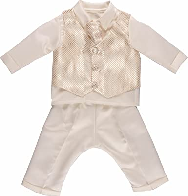 BABY BOY OUTFIT Formal 4 Piece Beige Special Occasion Suit Wedding Christening
