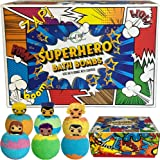 Bath Bombs for Kids with Surprise Inside - Set of 6 Colorful Bath Fizzies with Superhero Toys. Gentle and Kids Safe Spa…
