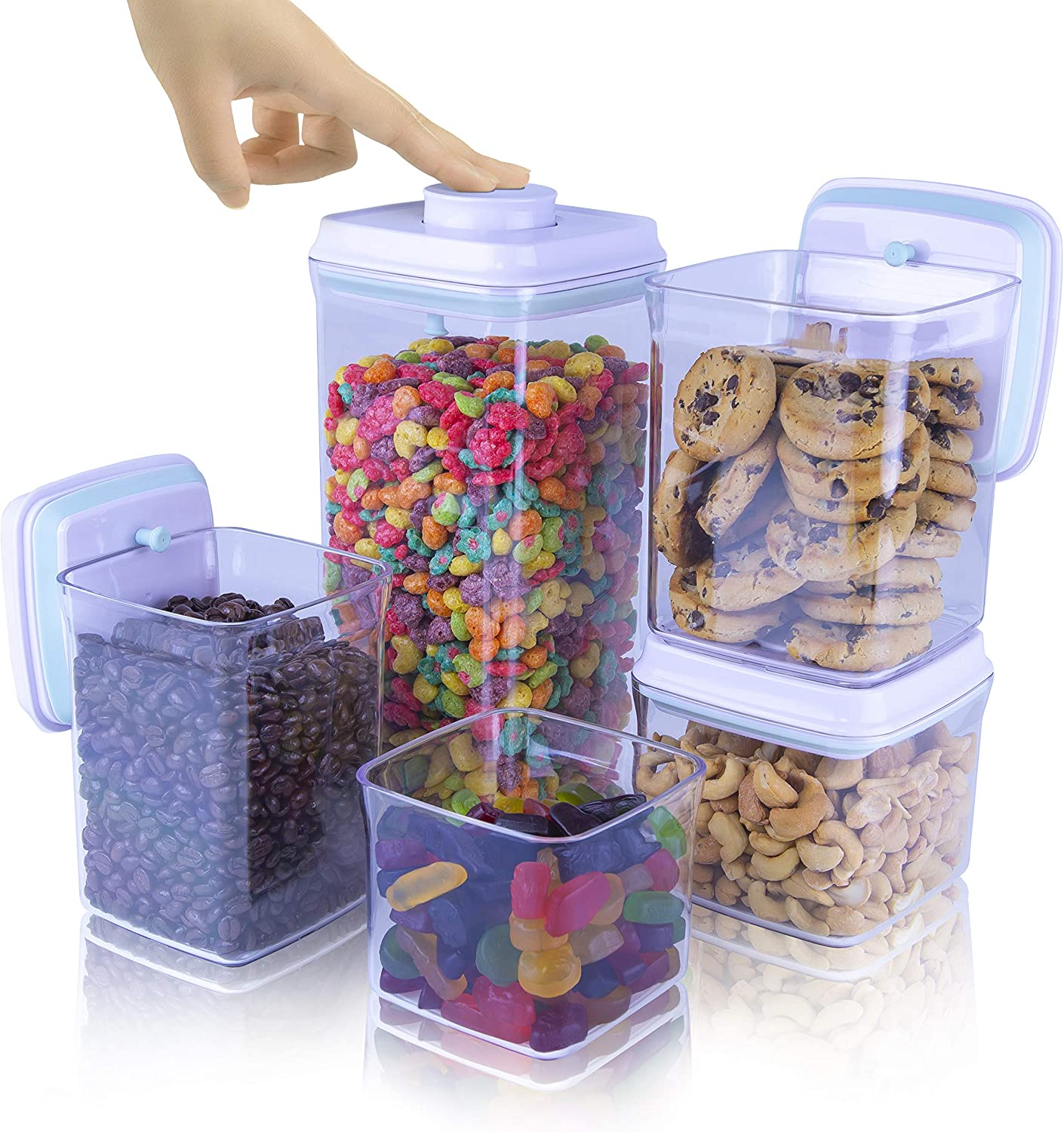 iChewie - BopTop (5pc Set) Airtight Food Storage Container – Mechanical Silicone Seal Canister - BPA-Free Stackable - 2.5Qt/1.5Qt/.9Qt/.85Qt/.5Qt