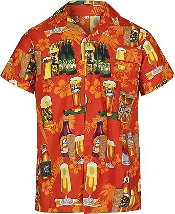 Redstar Fancy Dress - Camisa Hawaiana de Manga Corta - para Hombre - Cerveza y Playa - Todas Las Tallas - Naranja - XL: Amazon.es: Ropa y accesorios