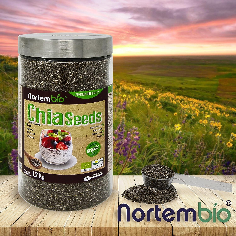 Semillas de Chia (Salvia hispanica) Natural NortemBio 1,2Kg, Calidad Premium. Extra de Omega 3, Fibra y Proteína de Origen Vegetal.