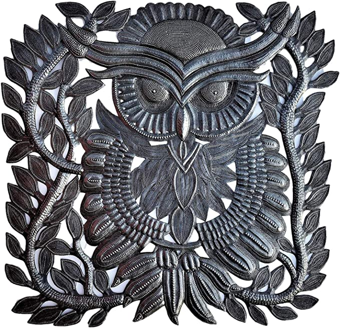 Owl Themed House Decorations Wall Hanging Art From Haiti Spring Garden Figurines Quality Craftsmanship 17 In X 17 5 In Everything Else Amazon Com