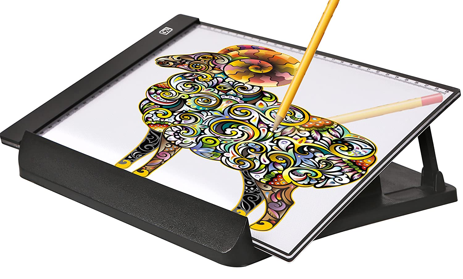 A4 Ultra-Thin Portable LED Light Box Tracer USB Power Cable Dimmable Brightness Artcraft Tracing Light Pad Light Box w a Stand&Sketches for Artists Drawing Sketching Animation Designing Stencilling Keeproduct LLC