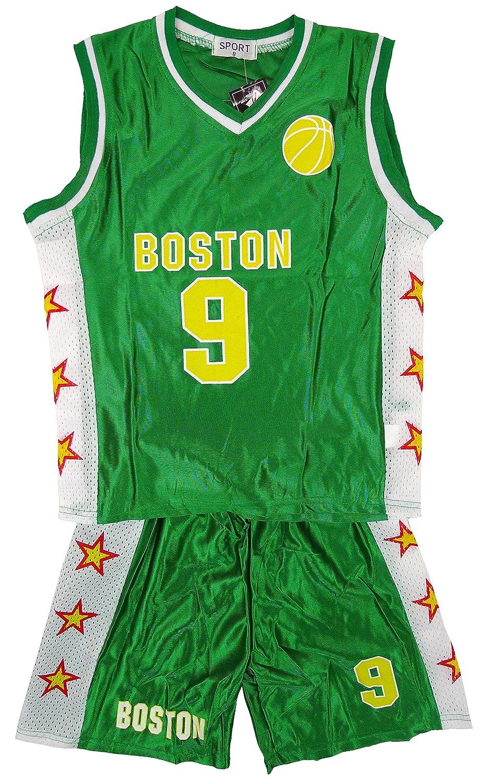 De niño BOSTON Baloncesto Deporte Camiseta Top Y Shorts Conjunto De Accesorios tallas 3-14 Años Verde 100% poliéster 4 (3-4 Años)
