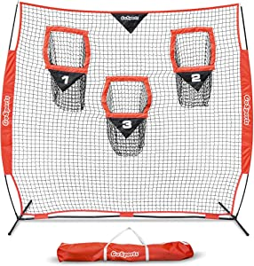 GoSports Football Trainer Throwing Net   Choose Between 8' x 8' or 6' x 6' Nets   Improve QB Throwing Accuracy - Includes Foldable Bow Frame and Portable Carry Case