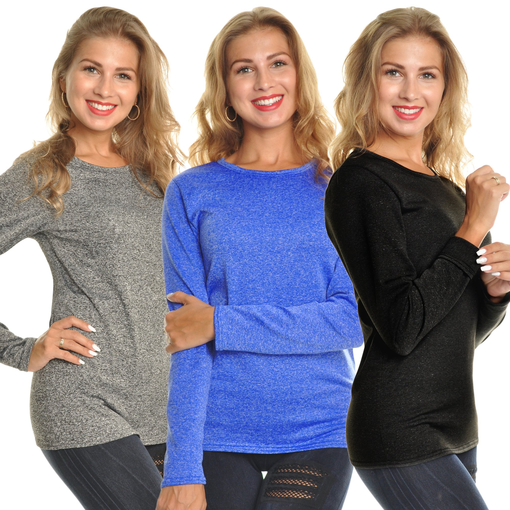 Angelina Women's Fleece Lined Long Sleeve Thermal Top,Marled,Medium (Pack 3)