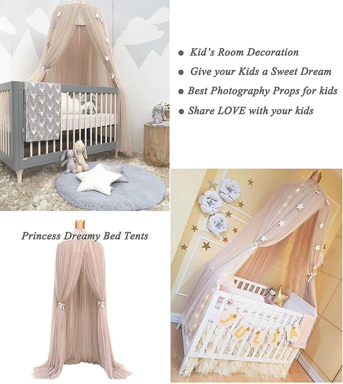 Kids Room Decoration,Photography Props for kids,Full Hanging Kit Insect Protection Repellent Shield,Gift Bag Princess Pink LUCKIEY Mosquito Net Canopy,Princess Dome Bed Canopy,Canopy for Bed