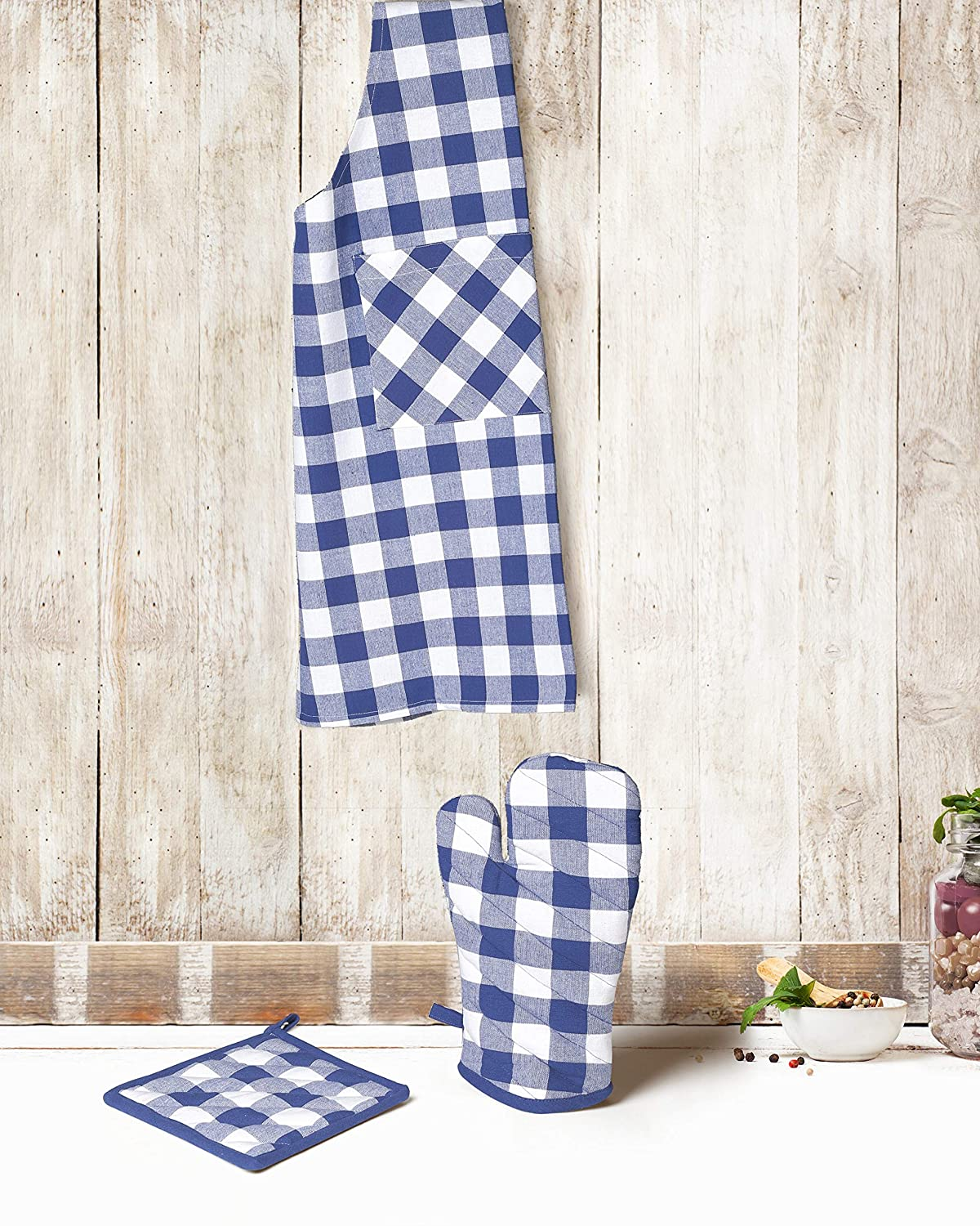 Cotton Clinic Gingham Buffalo Check Pot Holders and Oven Mitts Cotton Set of 4 Navy White Heat Resistant and Washable Oven Mitts and Pot Holders Sets for Men and Women
