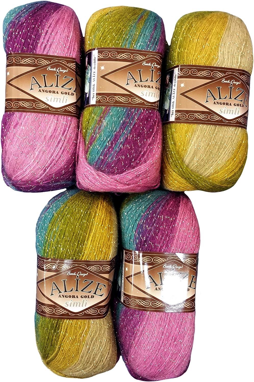 Bordeaux braun beige 4574 Wolle mit 20/% Woll-Anteil 5 x 100 g Alize Glitzerwolle Mehrfarbig mit Farbverlauf und Glitzer 500 Gramm Metallic