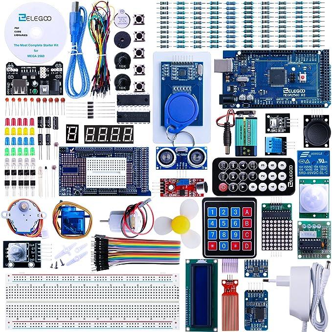 ELEGOO Conjunto Mas Completo y Avanzado de Iniciación a Arduino Mega 2560 con Guías Tutorial en Español y Conjunto de Arduino con Placa Controladora Mega 2560, LCD1602, Servomotor, Motor Paso a Paso