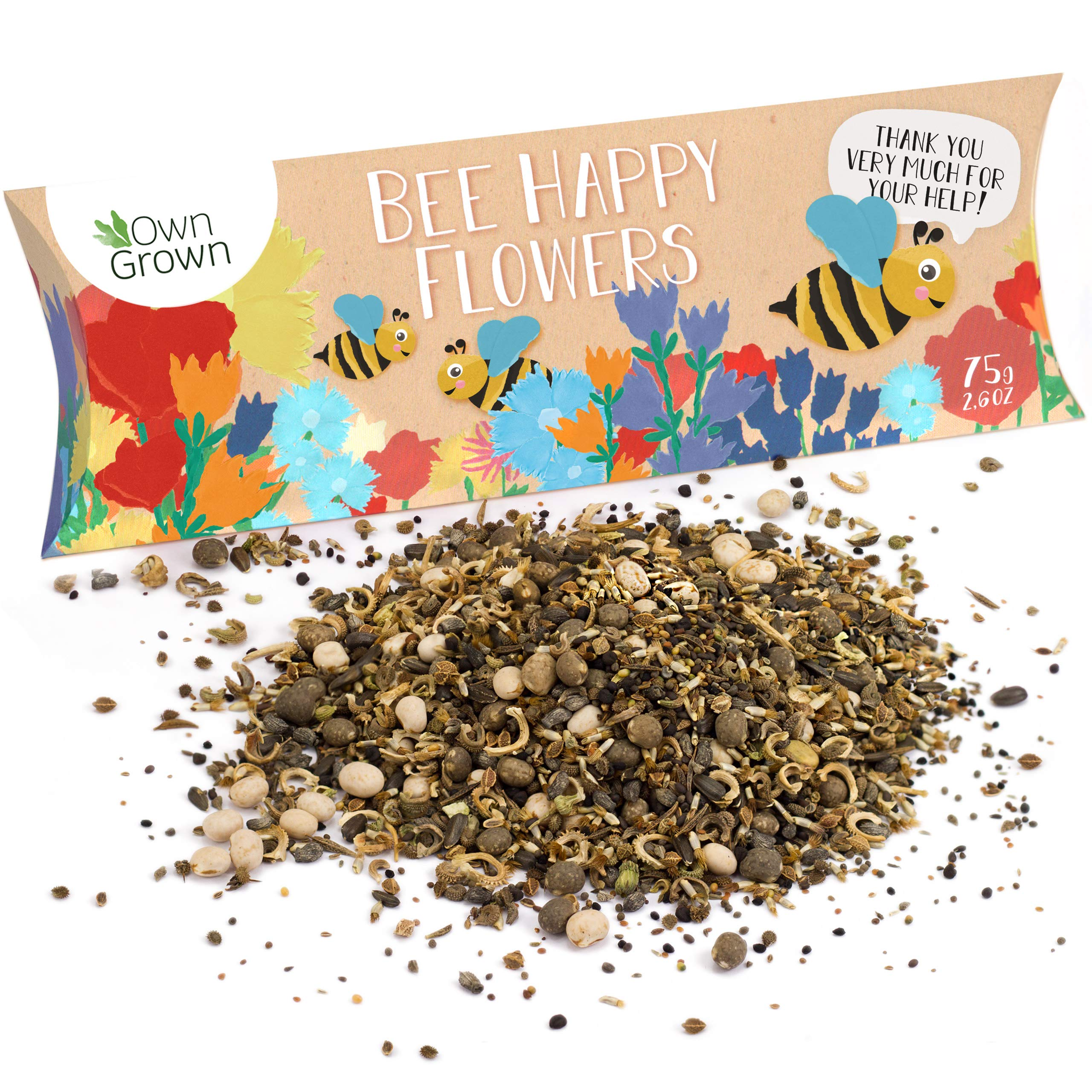 Bee Happy - Premium Bee Friendly Wildflower Seeds Mix: 100g Colourful Bee Meadow Plant Seeds for 50-100 sqm - Bee Flower Garden Seeds - Flowers for Garden - Seeds for Gardening Flowers by OwnGrown