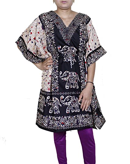fce257b47f0a9 Amazon.com: Womens Wear Cotton Kaftan Dress Short Beach Cover Up Tunic  Printed Caftan,Large,Black: Clothing