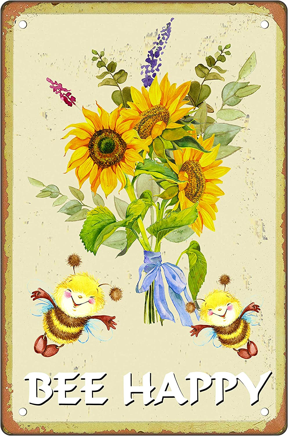 Asoodoo Retro Metal Tin Sign Vintage Sunflower Bee Happy Aluminum Sign for Home Coffee Wall Decor 8x12 Inch