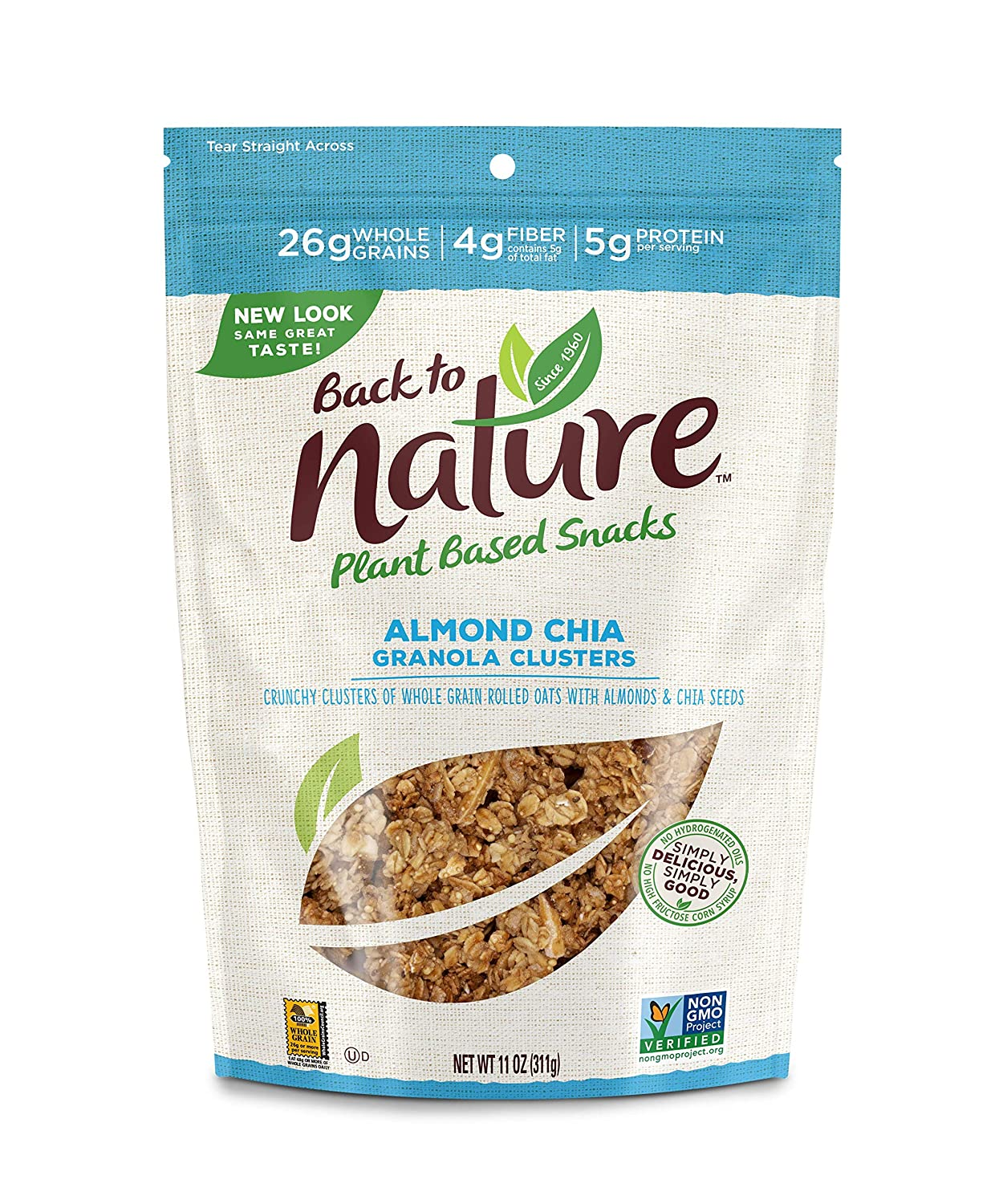 Back to Nature Granola Clusters, Non-GMO Almond Chia, 11 Ounce (Packaging May Vary)