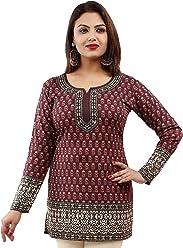 Unifiedclothes Women Fashion Casual Short Indian Kurti Tunic Kurta Top Shirt Dress 56C