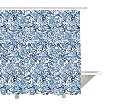 Yeuss Jacobean Shower Curtain By Abstract Persian Inspired Paisley Design With Floral Elements Ethnic Grunge