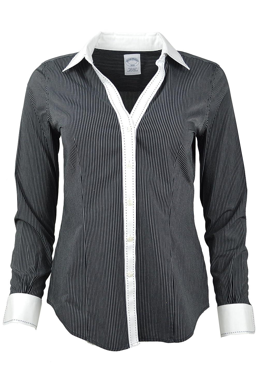 aa4a4387 Womens Black And White Striped Button Down Shirt - DREAMWORKS