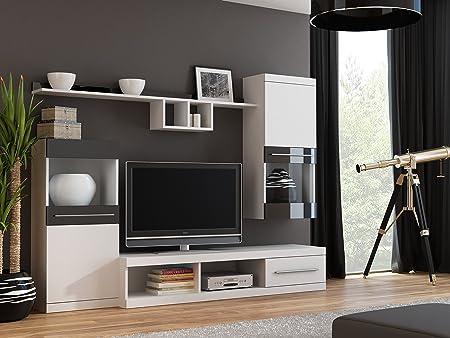 BanburyModernFurniture Unidad de Pared BMF Nick con pie para Colgar estantes de gabinetes Soporte de TV – Habitaciones de tamaño Medio – 220 cm de Ancho: Amazon.es: Hogar