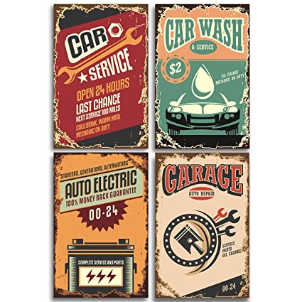 Amazoncom Retro Poster Prints Signs For Garage Set Includes Four