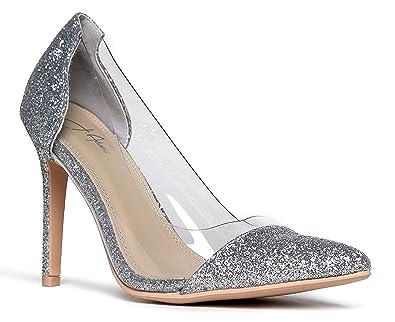 c292428a455 J. Adams Clear Pointed Toe Pump Heels Silver Glitter
