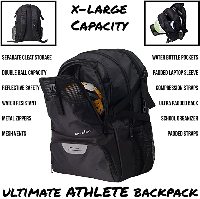 6ce691cff09 Amazon.com : Athletico National Soccer Bag - Backpack for Soccer, Basketball  & Football Includes Separate Cleat and Ball Holder (Black) : Sports &  Outdoors