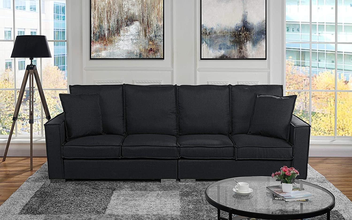 Extra Large Living Room Linen Fabric Sofa, 4 Seat Couch (Black)