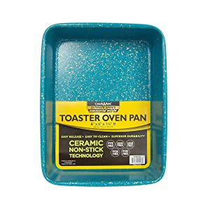 casaWare 8 x 6 x 1.75-Inch Toaster Oven Ultimate Series Commercial Weight Ceramic Non-Stick Coating Pan (Blue Granite)