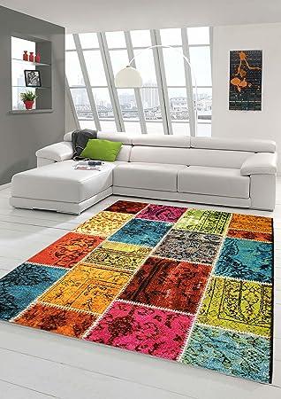Designer Teppich Moderner Teppich Wohnzimmer Teppich Karo Muster Patchwork  Teppich Multicolour In Grün Rot Türkis Gelb