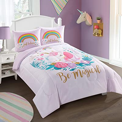 Heritage Kids Kids and Toddler Ultra-Soft Magical Unicorn and Rainbow Easy-Wash Microfiber Comforter Bed Set, Twin, Pink (NK689501): Home & Kitchen