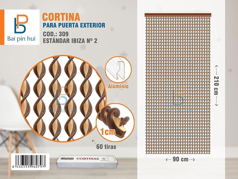colore:marrone con 60/strisce Bai Pin Hui modello Ibiza dimensione:90 x 210 cm Tenda per porta esterna mod 309 materiali: plastica e alluminio