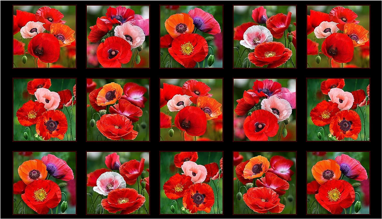 "Elizabeth's Studio""""Poppies 24in Panel Black Fabric"""