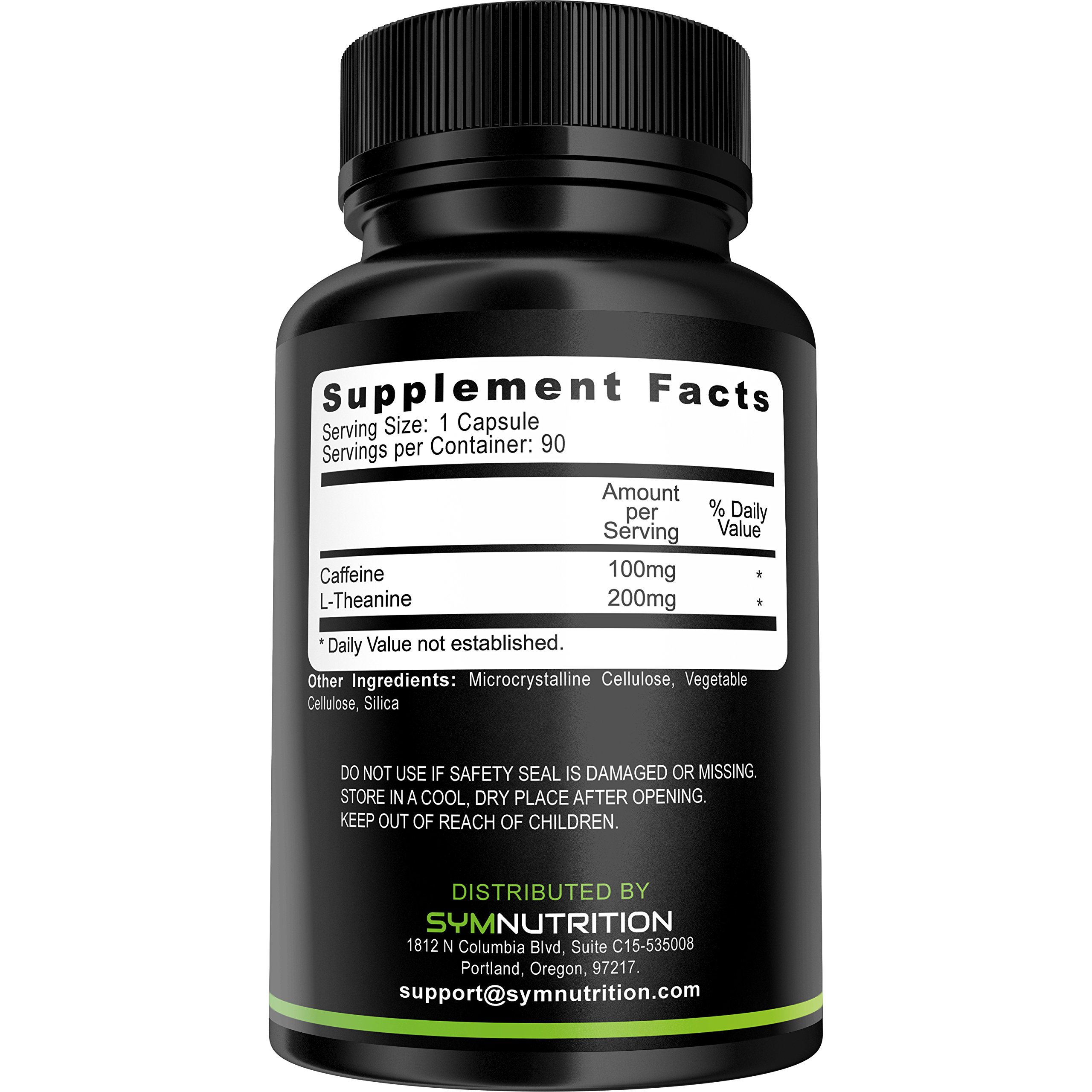 Caffeine 100mg, L-Theanine 200mg - 90 Count (V-Capsules); Taken for Better Focus, Energy, Mood & Wakefulness | Nootropic Stack | Non-GMO & Gluten Free by SYM Nutrition (Image #2)