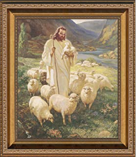 sallman classic christian art of christ as shepherd holding lamb framed for wall display gift