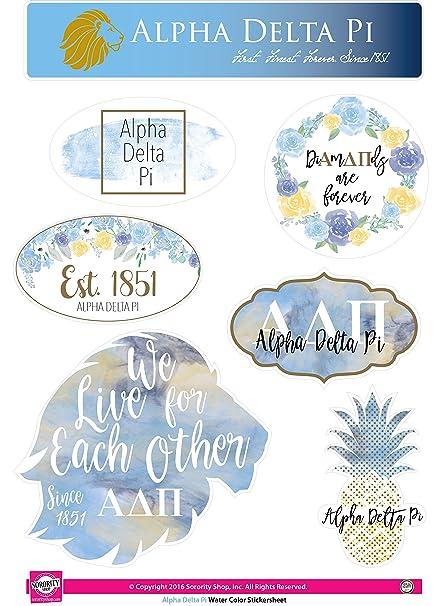 Alpha Delta Pi Sticker Sheet Watercolor Theme
