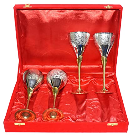 Amazon.com | Gold Silver Plated Pure Brass Engraved Premium Goblet ...