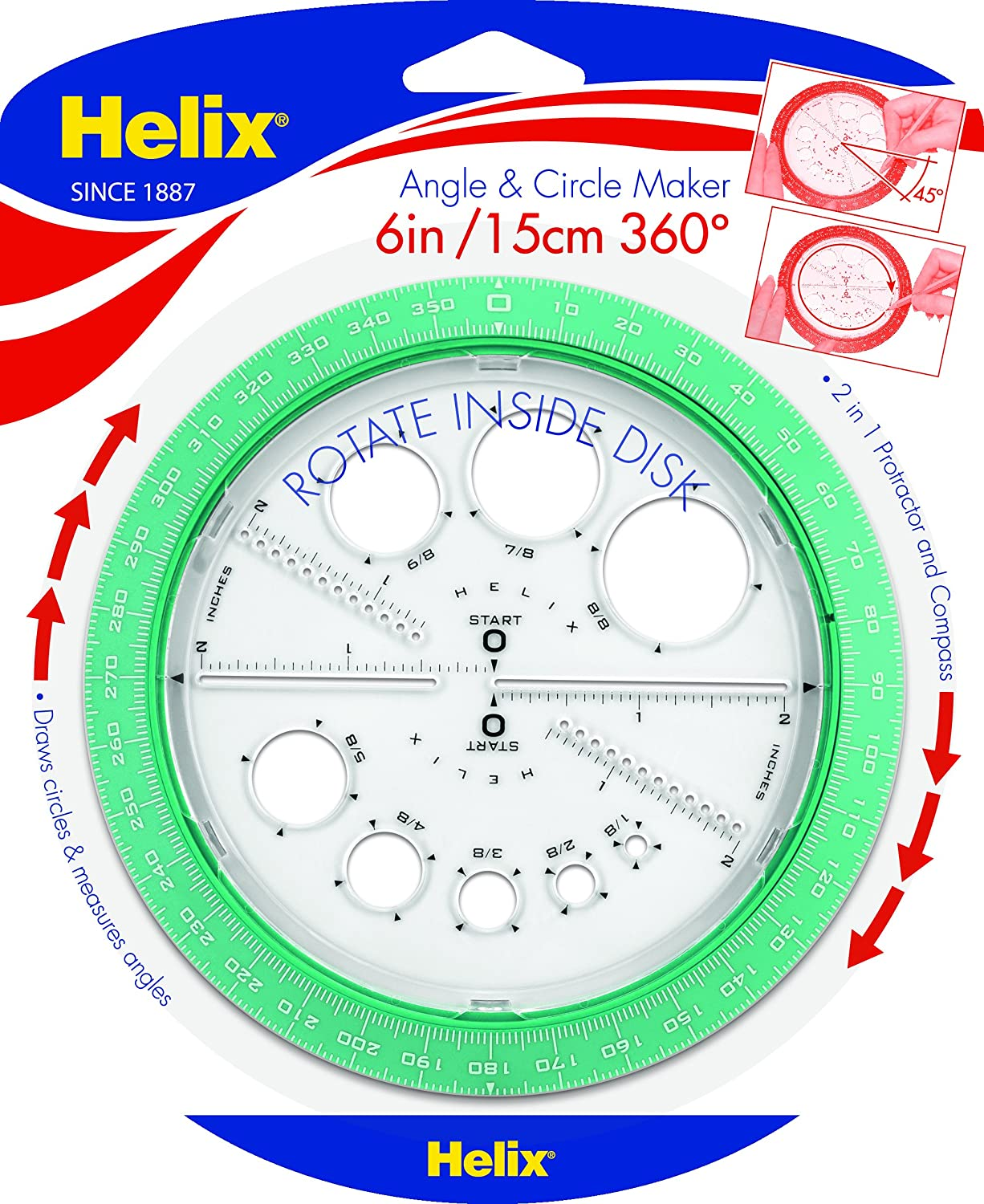 Amazon.com: Helix 360° Angle and Circle Maker, Assorted Colors ...