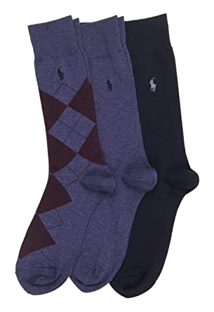 Polo Ralph Lauren Mens 3-Pack Socks 1 Argyle 2 Solid (10-13