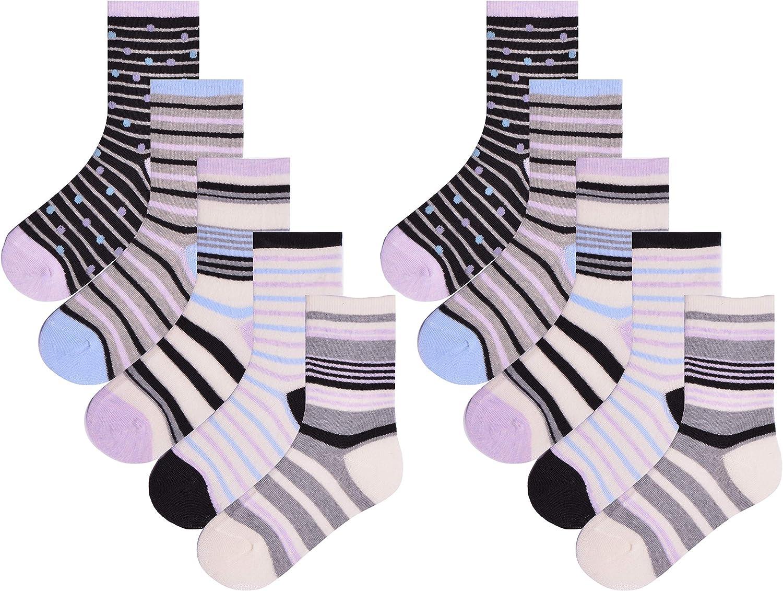 Girls 10 Pairs Ankle Socks Childrens Kids Coloured Stripe Design Socks